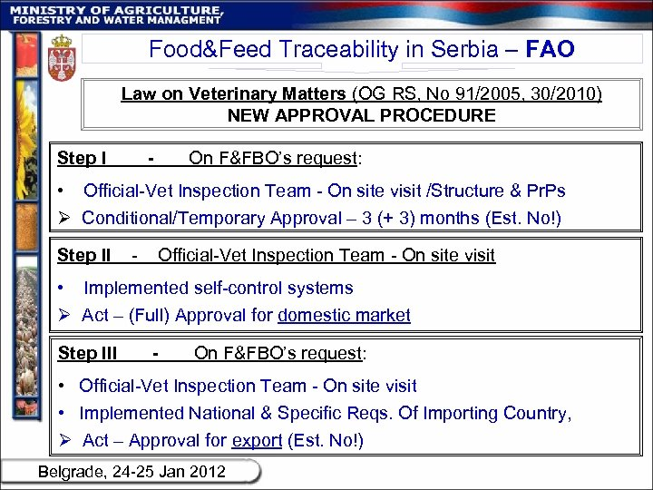 Food&Feed Traceability in Serbia – FAO Law on Veterinary Matters (OG RS, No 91/2005,