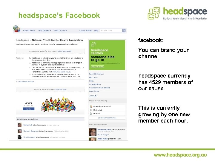 headspace's Facebook facebook: You can brand your channel headspace currently has 4529 members of
