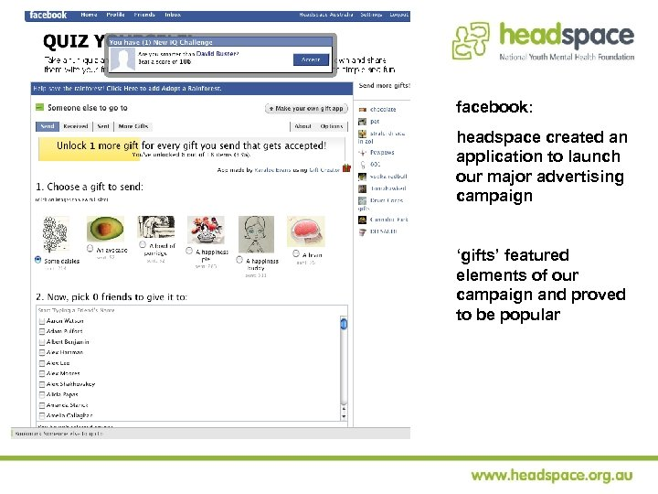 facebook: headspace created an application to launch our major advertising campaign 'gifts' featured elements
