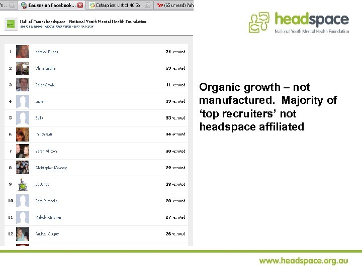 Organic growth – not manufactured. Majority of 'top recruiters' not headspace affiliated