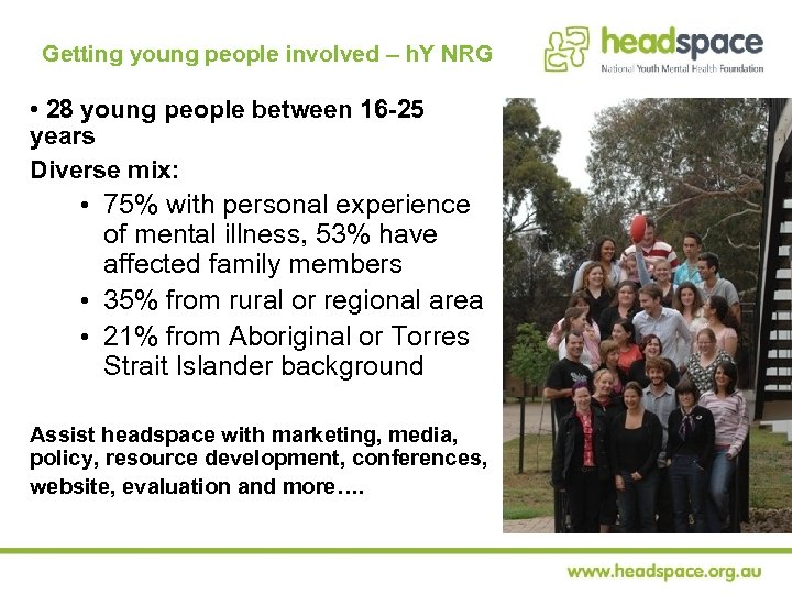 Getting young people involved – h. Y NRG • 28 young people between 16