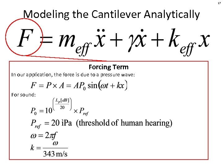 17 Modeling the Cantilever Analytically Forcing Term In our application, the force is due