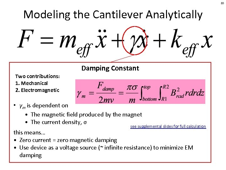 20 Modeling the Cantilever Analytically Damping Constant Two contributions: 1. Mechanical 2. Electromagnetic •