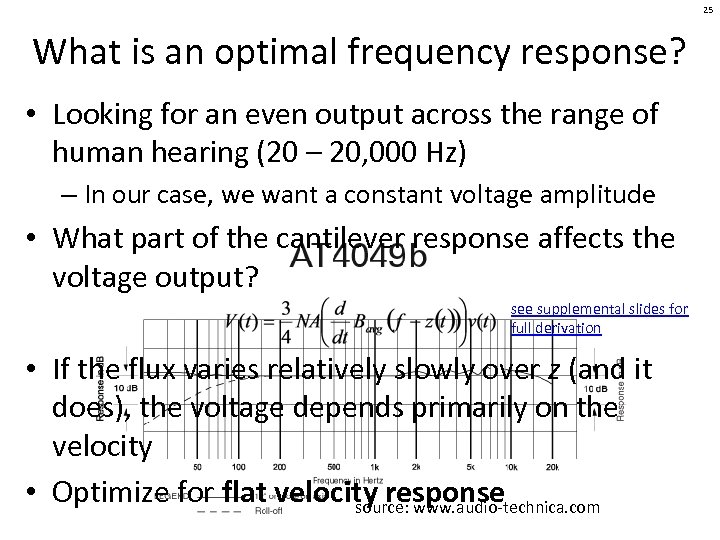 25 What is an optimal frequency response? • Looking for an even output across