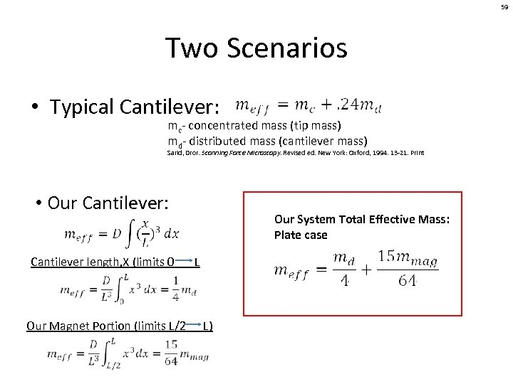59 Two Scenarios • Typical Cantilever: mc- concentrated mass (tip mass) md- distributed mass