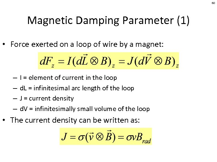 60 Magnetic Damping Parameter (1) • Force exerted on a loop of wire by