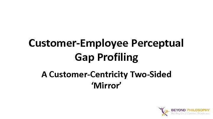 Customer-Employee Perceptual Gap Profiling A Customer-Centricity Two-Sided 'Mirror'
