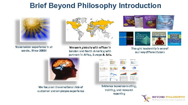 Brief Beyond Philosophy Introduction Stakeholder experience is all Customer Experience is we all we
