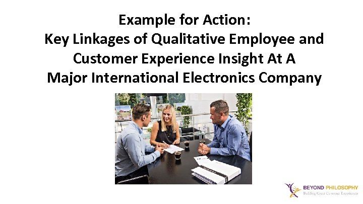 Example for Action: Key Linkages of Qualitative Employee and Customer Experience Insight At A