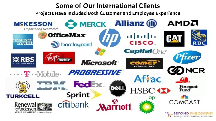 Some of Our International Clients Projects Have Included Both Customer and Employee Experience