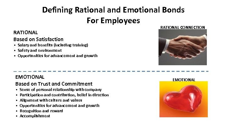 Defining Rational and Emotional Bonds For Employees RATIONAL Based on Satisfaction RATIONAL CONNECTION •