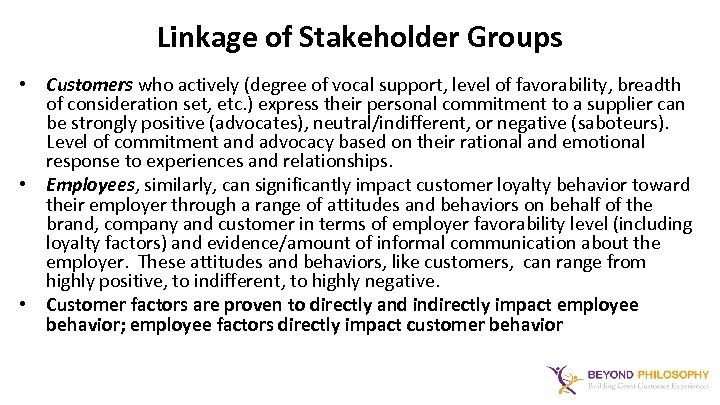 Linkage of Stakeholder Groups • Customers who actively (degree of vocal support, level of