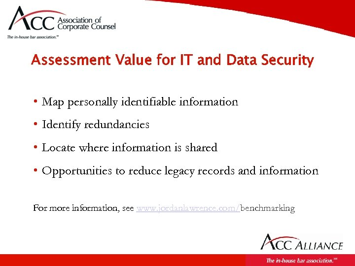 Assessment Value for IT and Data Security • Map personally identifiable information • Identify