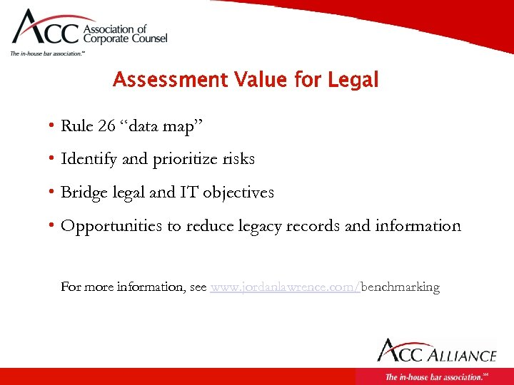 """Assessment Value for Legal • Rule 26 """"data map"""" • Identify and prioritize risks"""