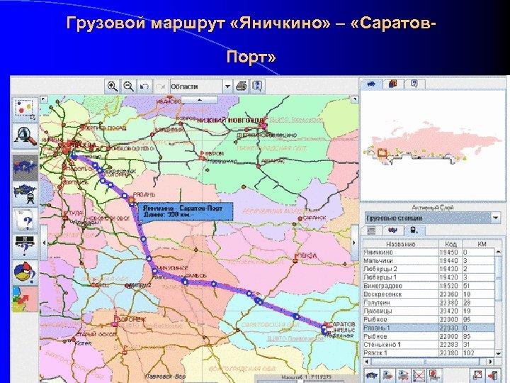 Грузовой маршрут «Яничкино» – «Саратов. Порт»