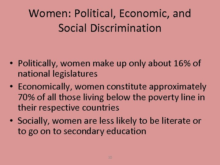 Women: Political, Economic, and Social Discrimination • Politically, women make up only about 16%