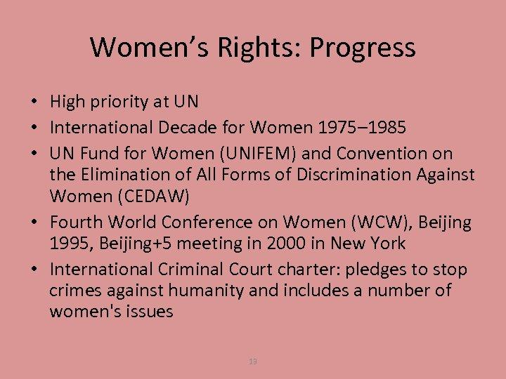 Women's Rights: Progress • High priority at UN • International Decade for Women 1975–