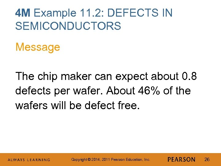 4 M Example 11. 2: DEFECTS IN SEMICONDUCTORS Message The chip maker can expect