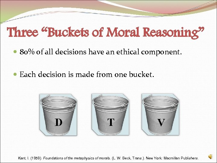 """Three """"Buckets of Moral Reasoning"""" 80% of all decisions have an ethical component. Each"""