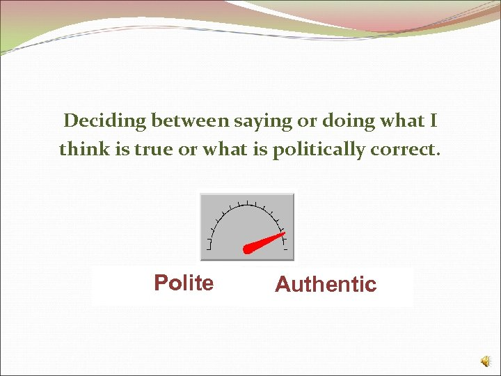 Deciding between saying or doing what I think is true or what is politically