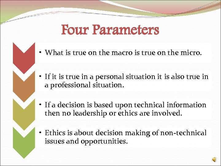 Four Parameters • What is true on the macro is true on the micro.