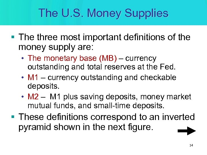 The U. S. Money Supplies § The three most important definitions of the money