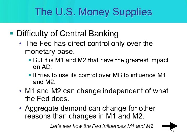 The U. S. Money Supplies § Difficulty of Central Banking • The Fed has