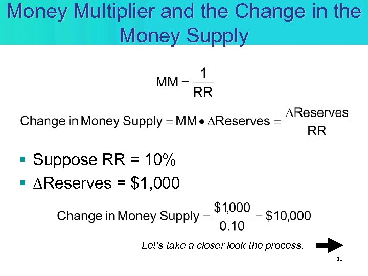Money Multiplier and the Change in the Money Supply § Suppose RR = 10%