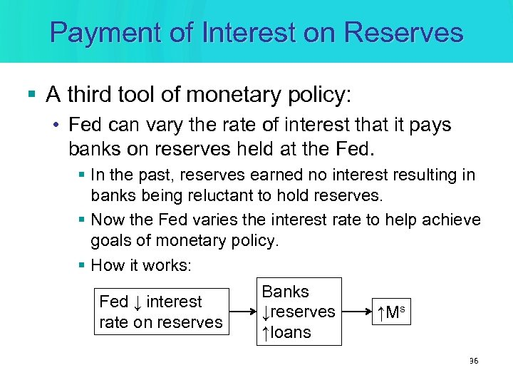 Payment of Interest on Reserves § A third tool of monetary policy: • Fed