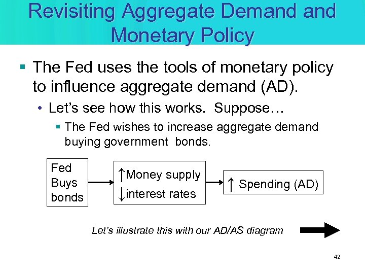 Revisiting Aggregate Demand Monetary Policy § The Fed uses the tools of monetary policy