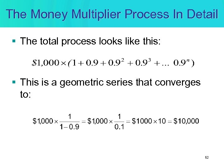 The Money Multiplier Process In Detail § The total process looks like this: §
