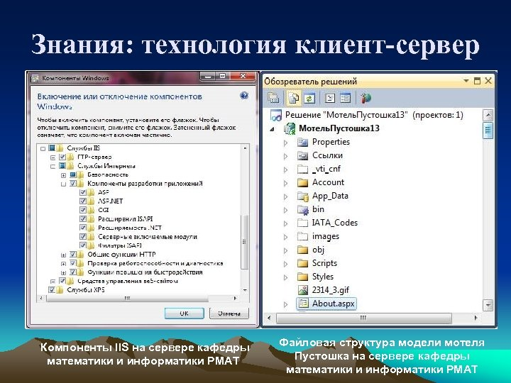 Знания: технология клиент-сервер Компоненты IIS на сервере кафедры математики и информатики РМАТ Файловая структура