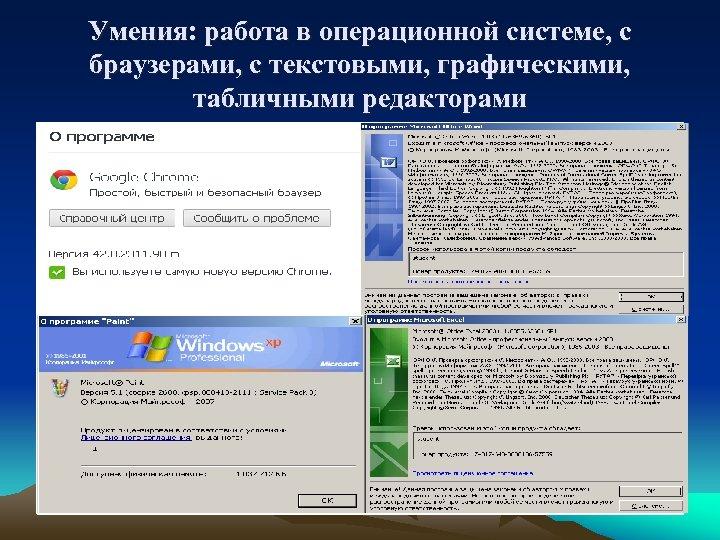 Умения: работа в операционной системе, с браузерами, с текстовыми, графическими, табличными редакторами