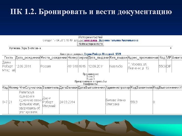 ПК 1. 2. Бронировать и вести документацию