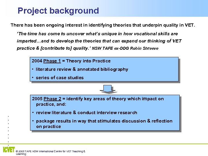 Project background There has been ongoing interest in identifying theories that underpin quality in