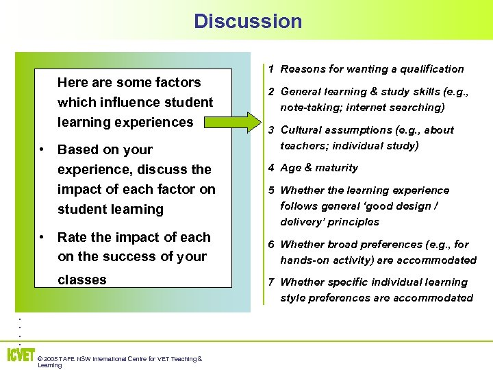 Discussion Here are some factors which influence student learning experiences • Based on your
