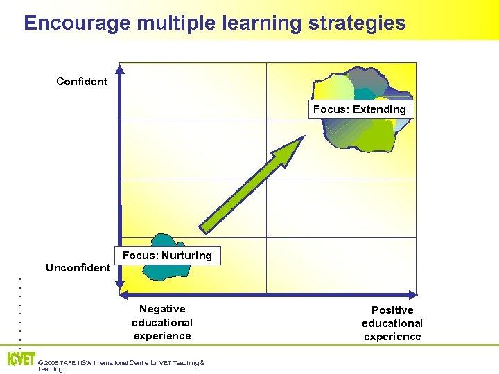Encourage multiple learning strategies Confident Focus: Extending Focus: Nurturing . . Unconfident Negative educational