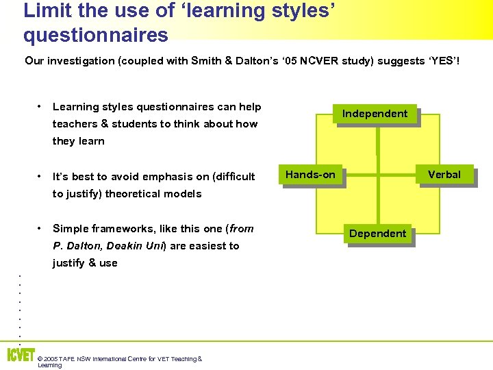 Limit the use of 'learning styles' questionnaires Our investigation (coupled with Smith & Dalton's