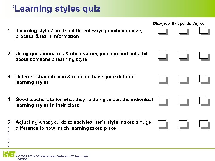 'Learning styles quiz Disagree It depends Agree 1 'Learning styles' are the different ways