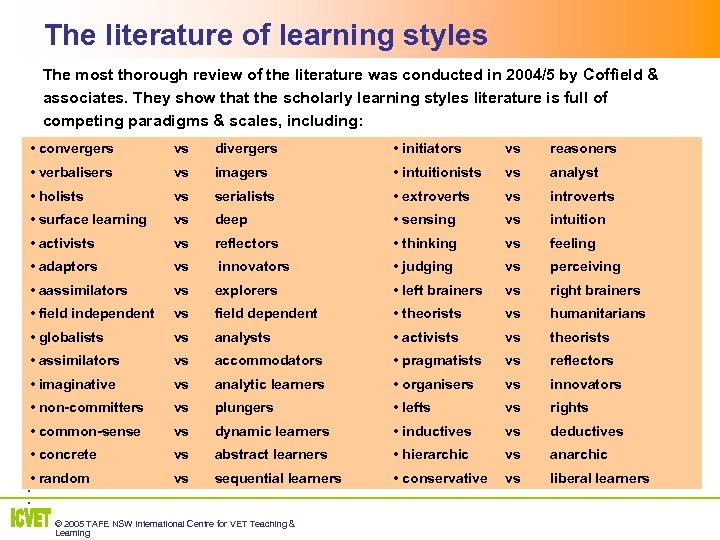 The literature of learning styles The most thorough review of the literature was conducted