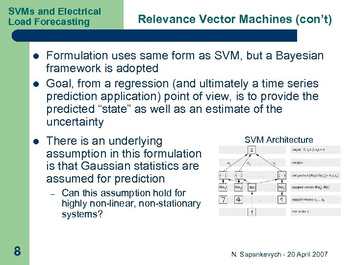 SVMs and Electrical Load Forecasting l l l Formulation uses same form as SVM,