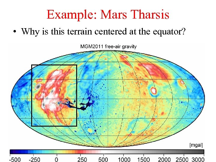 Example: Mars Tharsis • Why is this terrain centered at the equator?