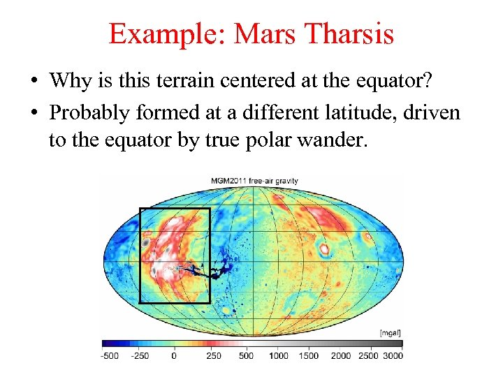 Example: Mars Tharsis • Why is this terrain centered at the equator? • Probably