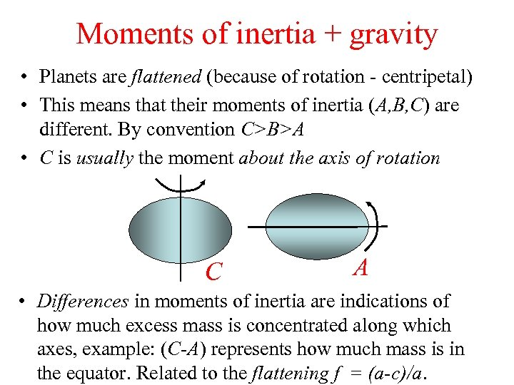 Moments of inertia + gravity • Planets are flattened (because of rotation - centripetal)