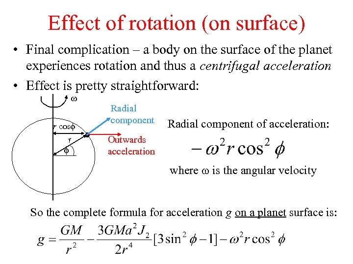 Effect of rotation (on surface) • Final complication – a body on the surface