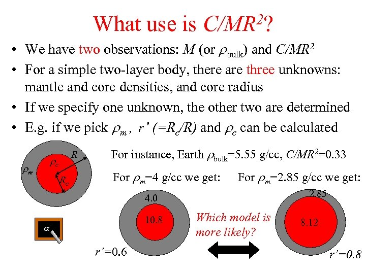 What use is 2? C/MR • We have two observations: M (or rbulk) and