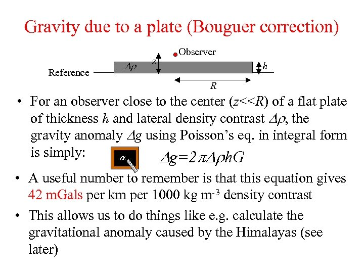 Gravity due to a plate (Bouguer correction) Reference Dr z Observer h R •