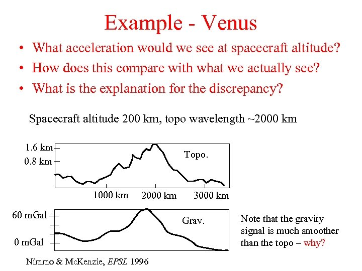 Example - Venus • What acceleration would we see at spacecraft altitude? • How