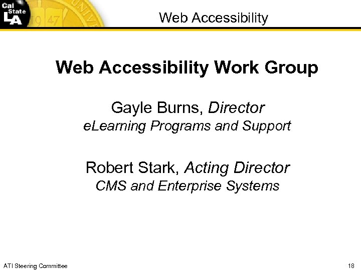 Web Accessibility Work Group Gayle Burns, Director e. Learning Programs and Support Robert Stark,