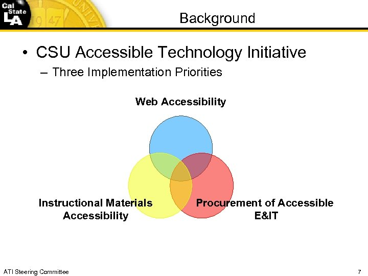 Background • CSU Accessible Technology Initiative – Three Implementation Priorities Web Accessibility Instructional Materials